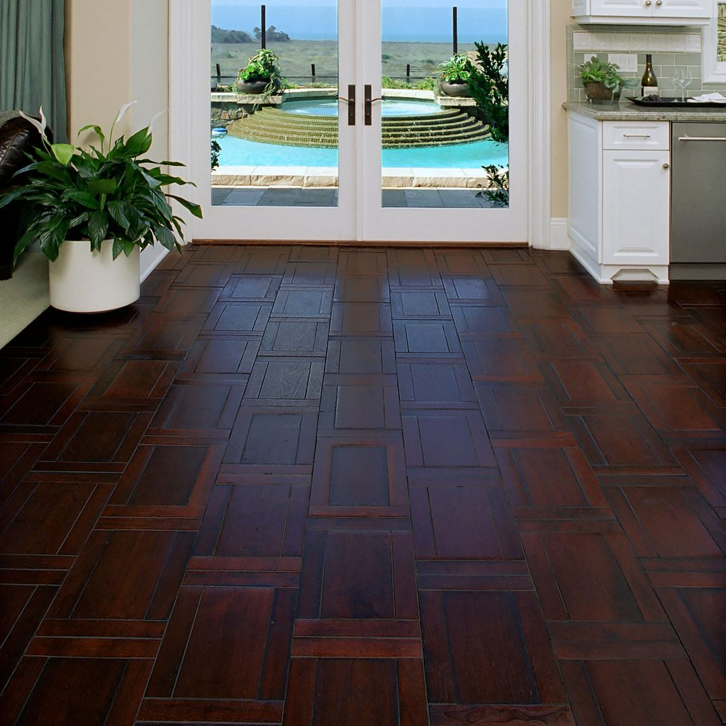 Coastal Kitchen with Parquet Hardwood Flooring