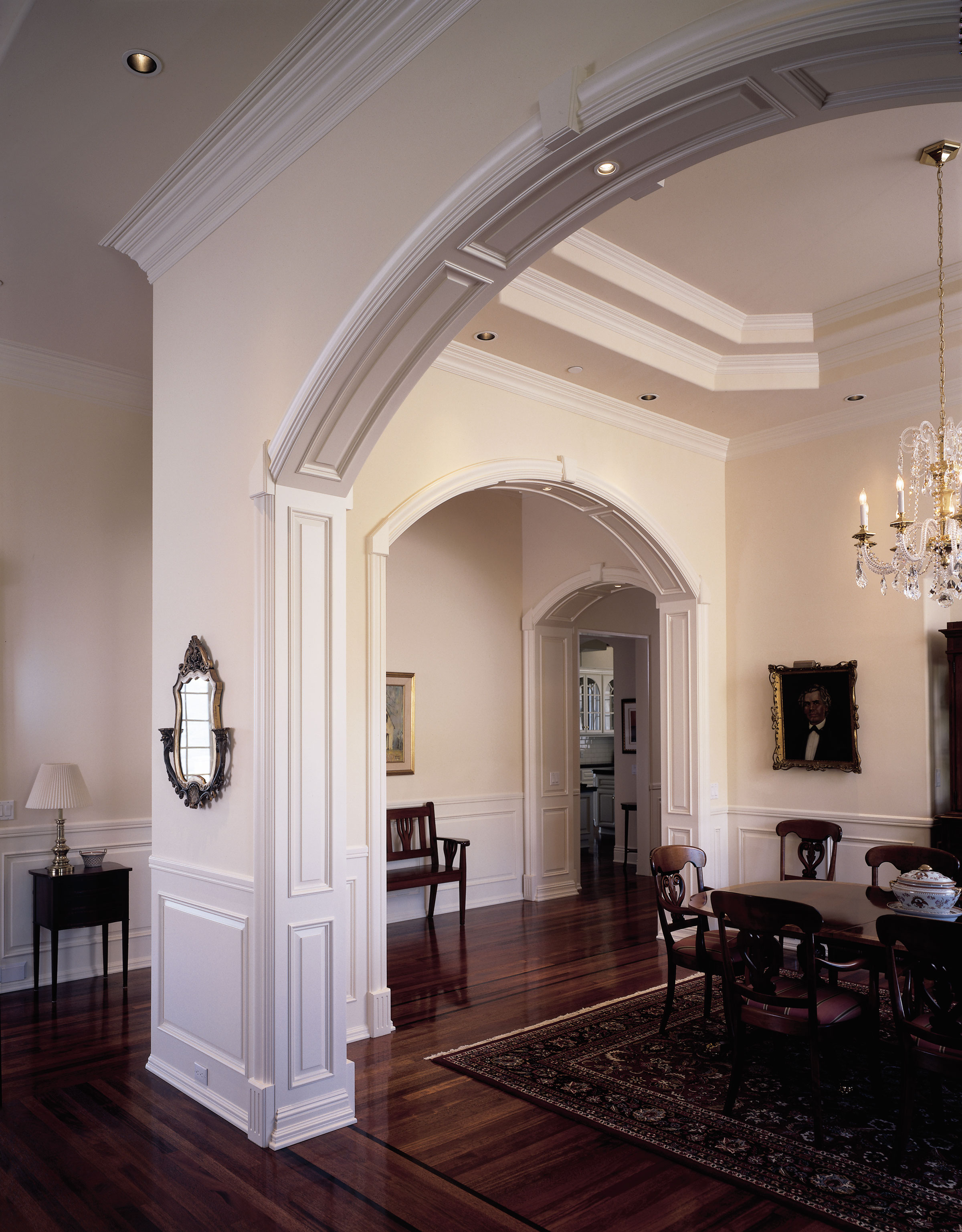 Traditional Dining Room with both stock and custom mouldings