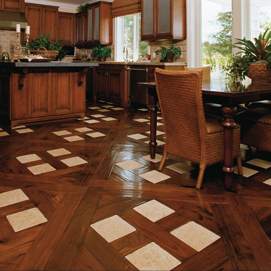 Traditional Kitchen with Stone Parquet Inlay  Inspiration Saroyan Hardwoods Parquet Kitchen 1024x1024
